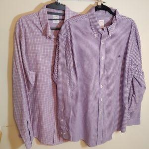 2 - Brooks Brothers large purple check shirts L
